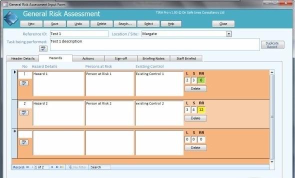 TIRA - Task Inventory & Risk Assessment