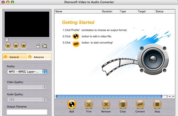 3herosoft Video to Audio Converter Mac - Convert video formats to audio file MP3
