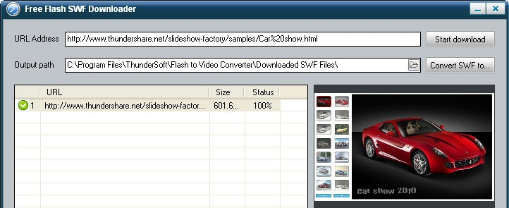 ThunderSoft Free Flash SWF Downloader