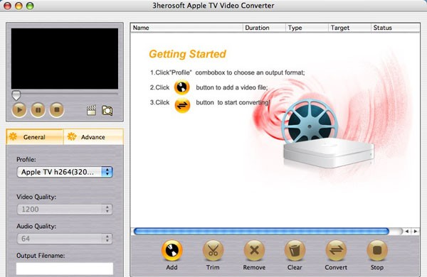 3herosoft Apple TV Video Converter Mac - Fast convert videos to Apple TV format MP4