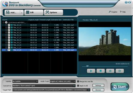 Daniusoft DVD to BlackBerry Converter