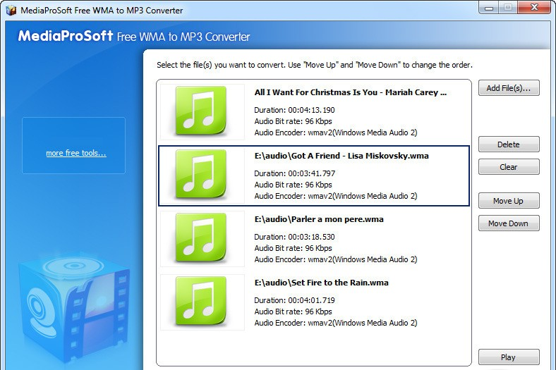MediaProSoft Free WMA to MP3 Converter