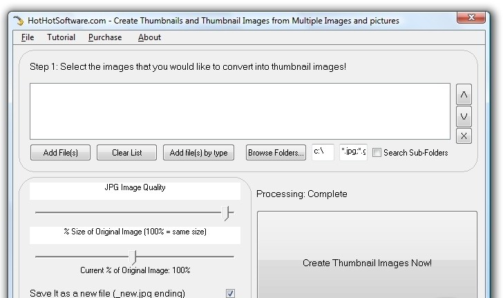 Create Thumbnails and Thumbnail Images