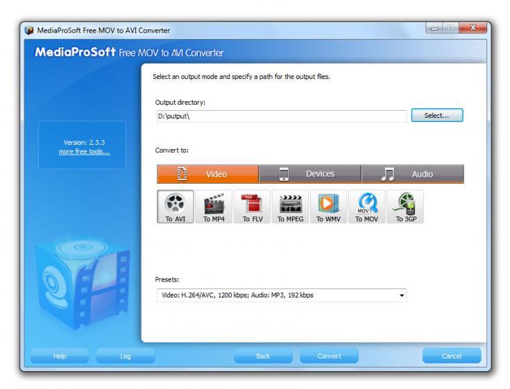 MediaProSoft Free MOV to AVI Converter