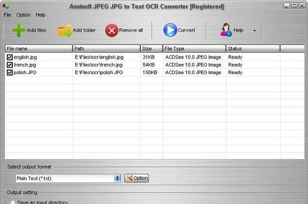 Aostsoft JPEG JPG to Text OCR Converter