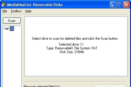 MediaHeal for Removable Disks retrieves