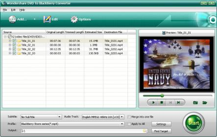 Wondershare DVD to BlackBerry Converter