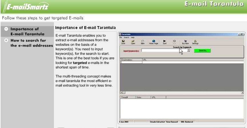 Email List Spider Tarantula: EmailSmartz create email lists