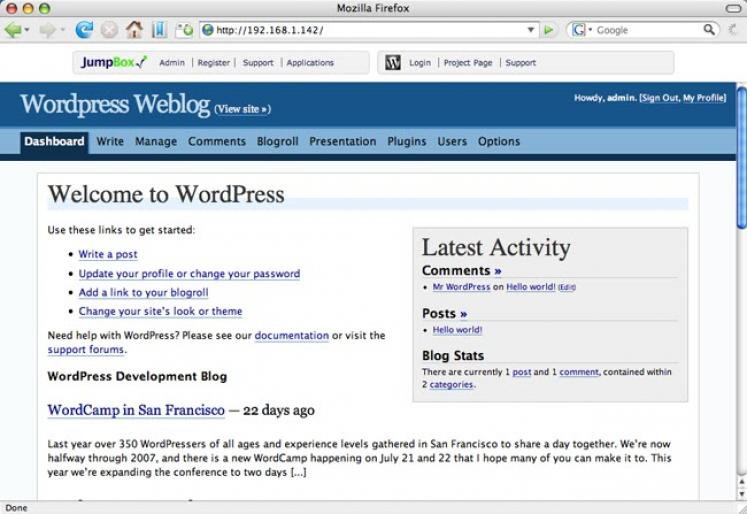 JumpBox for the Wordpress Blogging System