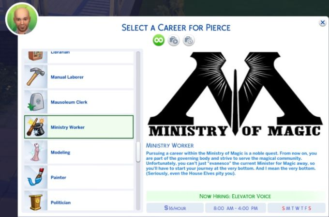 Ministry of Magic Career mod for The Sims 4